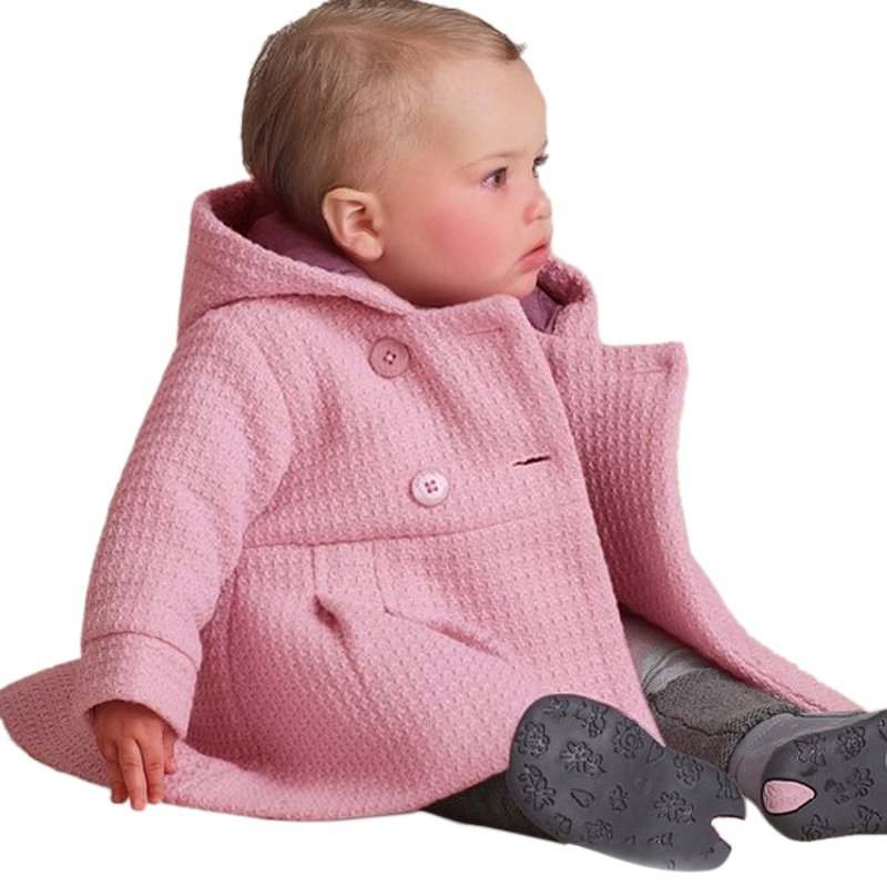 67e581c5a Infant Kids Girls Toddler Warm Fleece Hooded Winter Pea Coat Snow ...