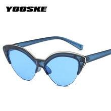 YOOSKE Cat Eye lunettes de Soleil Femmes 2018 Demi Cadre Transparent  Couleur Lunettes de Soleil de la Mode Féminine Bleu Jaune C.. 8f2e36f6f68d