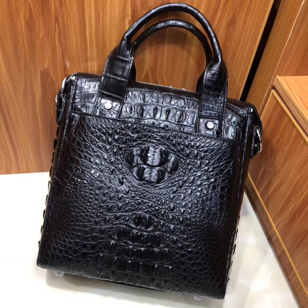 2018 Fashion Men's Genuine/Real 100% Crocodile Skin Men Bag With Top Handle Small Size Leisure Fashion Young Men Shoulder Bag