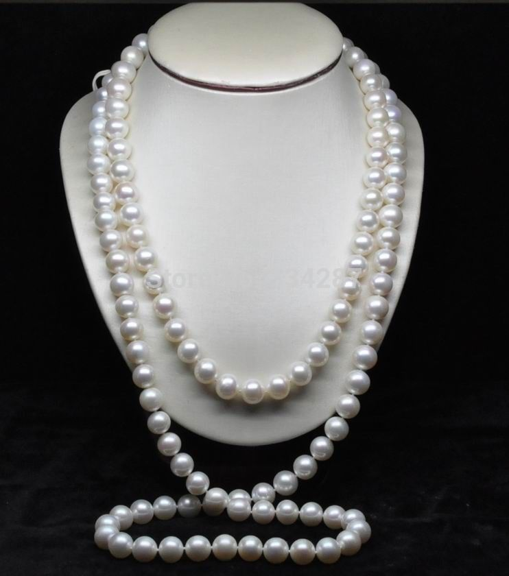 10x10 jewerly freeshipping Natural AAA GRADE 7-8MM WHITE PEARL NECKLACE 76