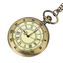 купить fashion quartz man pocket watch alloy men's fob watches round roman number vintage retro ancient antique yellow dial face style по цене 220.43 рублей