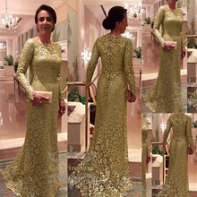 Mermaid / Trumpet High Jewel Neck Court Train Gold Lace Mother of the Bride Dress with Long Sleeves