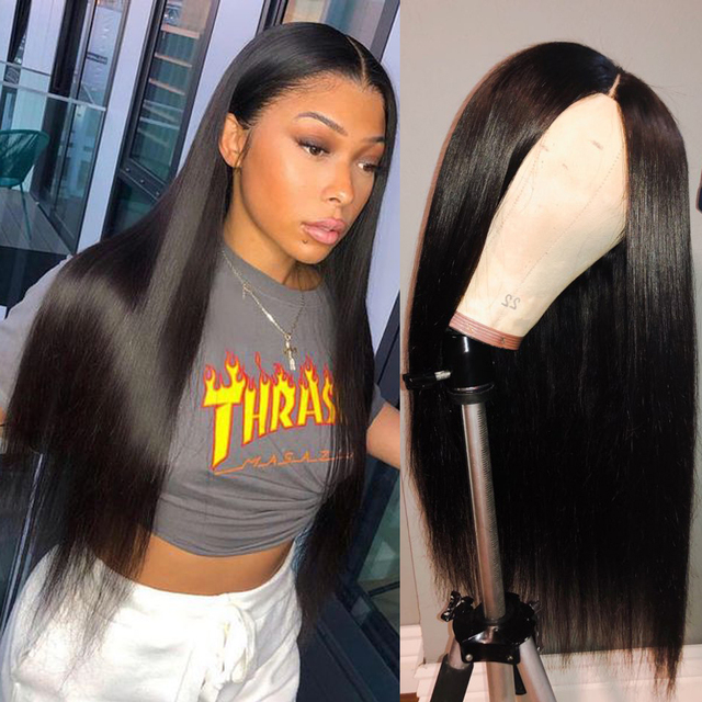 6 นิ้วลึก 13X6 ลูกไม้ด้านหน้าด้านหน้ามนุษย์ Wigs สำหรับผู้หญิงสีดำ 8 24 นิ้ว 150% ความหนาแน่นบราซิล Remy Wigs วิกผม