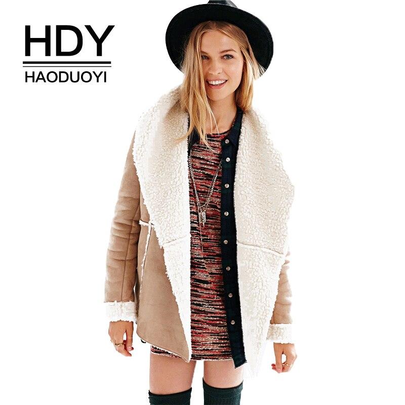 HDY Haoduoyi одежда зимние теплые замшевый плащ пальто искусственный мех Свободные Повседневное для женщин верхняя одежда с длинным рукавом отл...