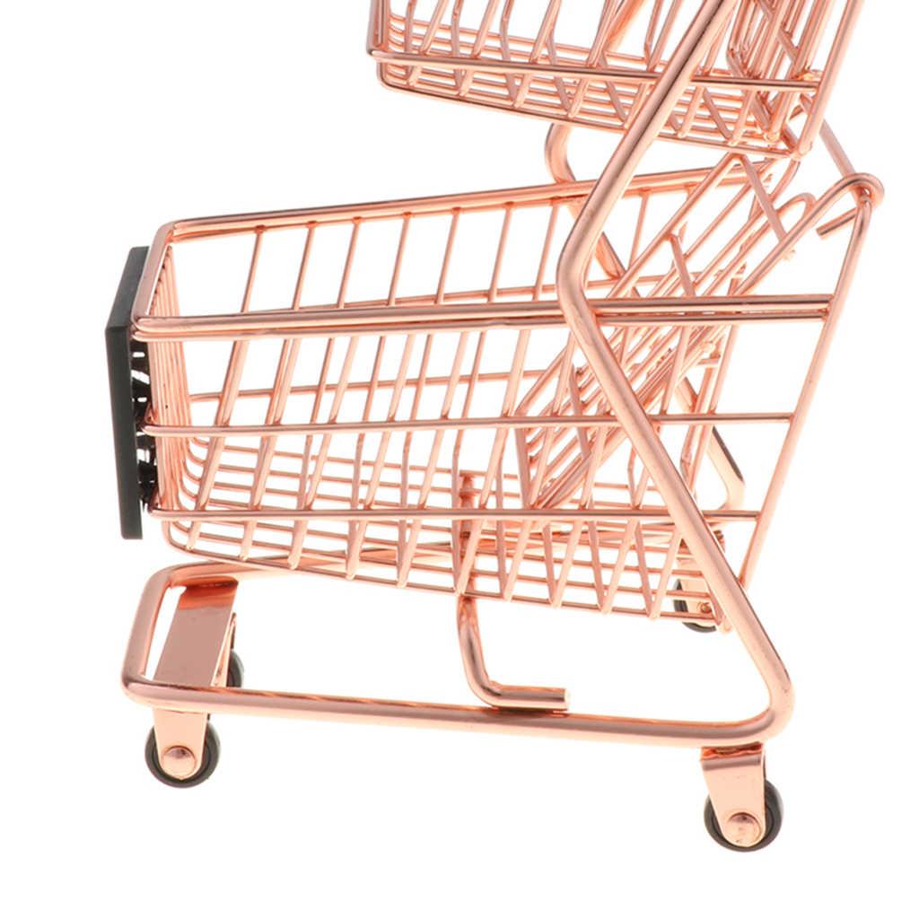 Mini Belanja dengan Kokoh Bingkai Logam Pena/Pensil/Pemegang Kartu Meja Penyimpanan Mainan