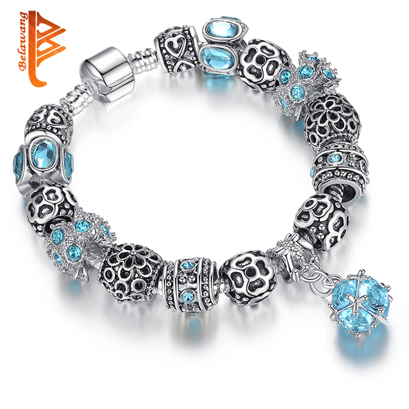 BELAWANG Authentic Tibeten Silver 925 Owl Crown Heart Charm Bracelet Blue Crystal Beads Bracelets for Women Original DIY Jewelry