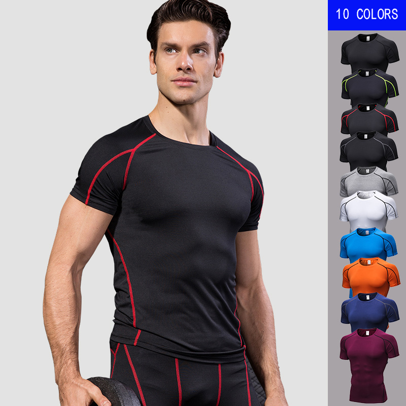 New Men's T-shirts Quick Dry Tight Fitness Running T shirts Men Solid Short Sleeve Gym Sport Top Tee Clothing Men's Sportswear