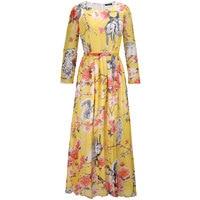 Women Chiffon Dresses Long Sleeve O Neck Spring Autumn Winter Dress Fashion Maxi Long Plus Size