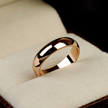MOONROCY Free Shipping Jewelry Crystal Ring rose gold Color Simple Wedding ring Couples rings bijouterie for man or woman