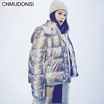 CNMUDONSI 2018 New Autumn Winter Women Full Sleeve Zipper Hooded Collar Loose Metal Color Glossy Fashion Casual Down Jacket XXL