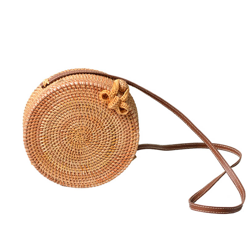 2018 INS Round Straw Bags Women Summer Rattan Bag Handmade Woven Beach Cross Body Bag Circle Bohemia Handbag Bali BOX 2018 women hand woven round rattan straw bag ins bali bag bohemian beach circle bag circular handbag shoulder