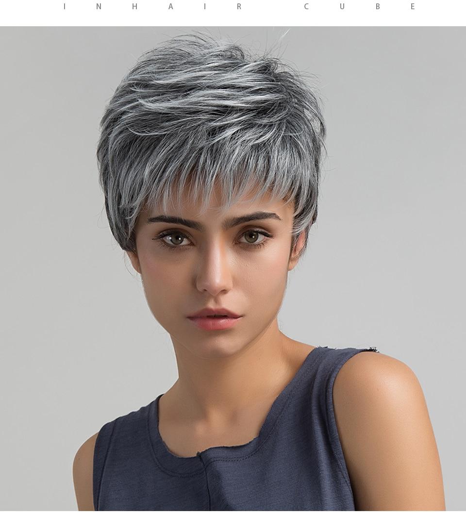Esin Short Hair Wig Pixie Cut Light Grey Hair Wig Ombre Highlights