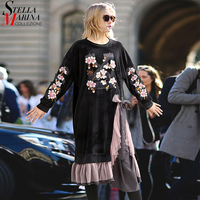 2017 European Women Winter Black Velvet Dress Slit With Mesh Ruffle Jointed Flower Embroidery Plus Size