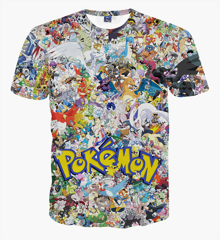 pokemon go printed 3D t shirt big kids Clothing boys and girls summer fashion t-shirts