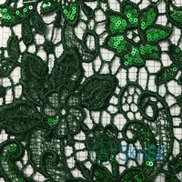 300yards Lot Lace Fabric Green Flower Sequin Embroidery Wedding Dress Lace Trimming For Clothing DIY Accessories