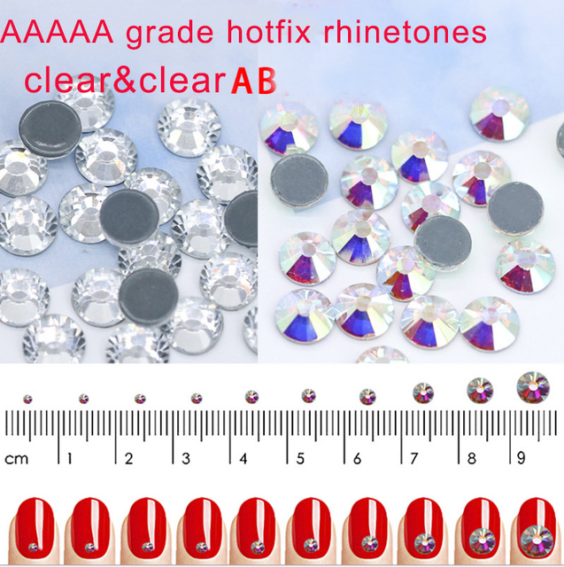 wholesale 5A Quality ss3-ss50 Hot fix AB crystal Nail Art Rhinestones  Flatback Iron On Hotfix Glitter glass stone clothes crafts 252e0b8ada05