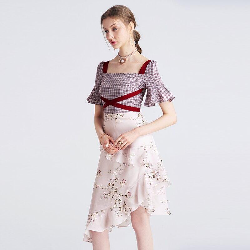 Natural 最新の女性フリルドレスファッションスクエアネックフレアスリーブ膝丈チェック柄パッチワークプリントドレス Yigelila 62769