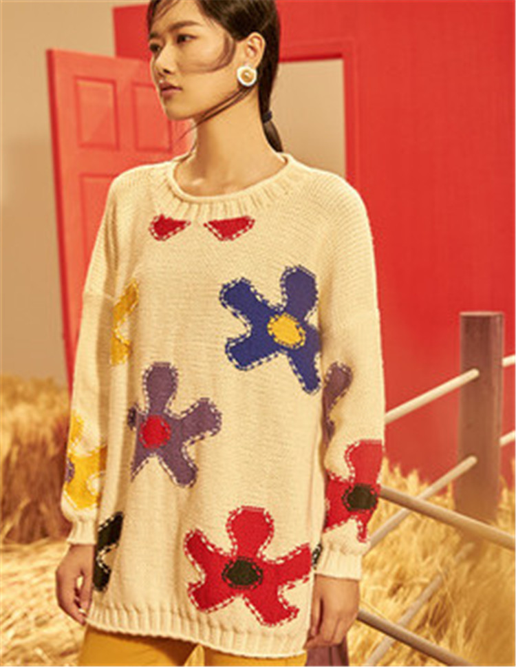 100% Hand Made Pure Wool Oneck Knit Women Fashion Irregular Floral Contrast Color H-straight Pullover Sweater One&over Size