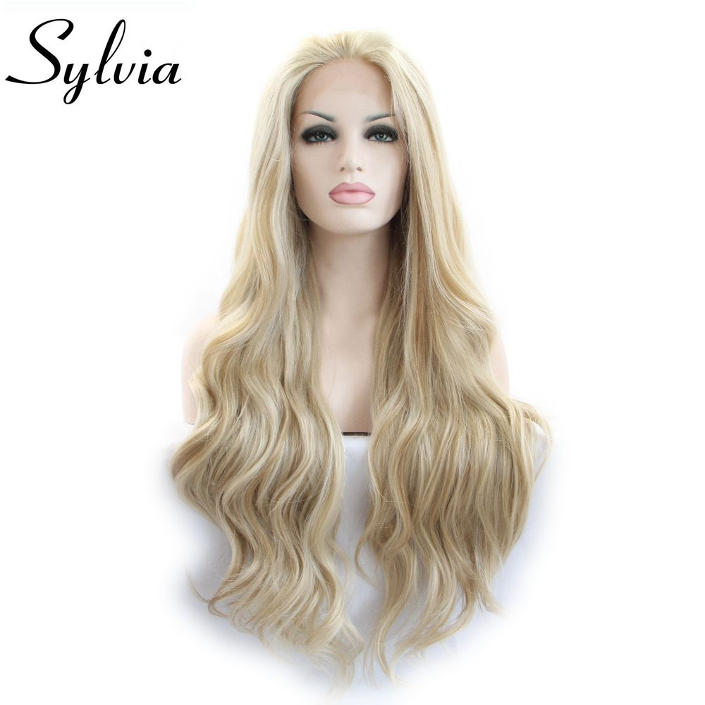 Sylvia Mixed Color Blonde Natural Wave Wig Synthetic Lace Front Wig Glueless Heat Resistant Fiber Hair