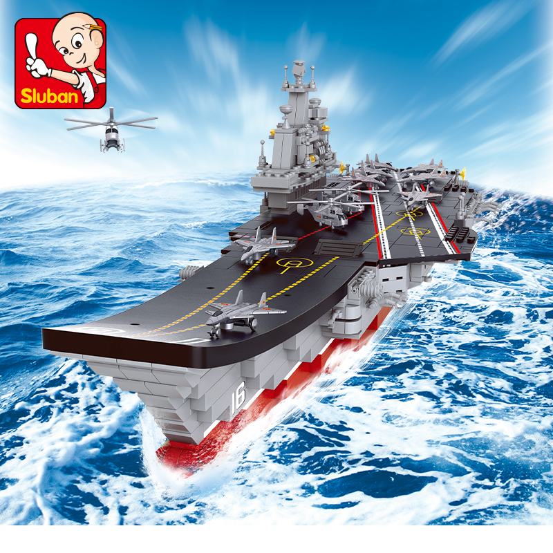 Sluban Building Block WW2 Military Large Aircraft Boat Carrier 1875pcs Educational Bricks Toy Boy No retail box-in Stacking Blocks from Toys & Hobbies    1