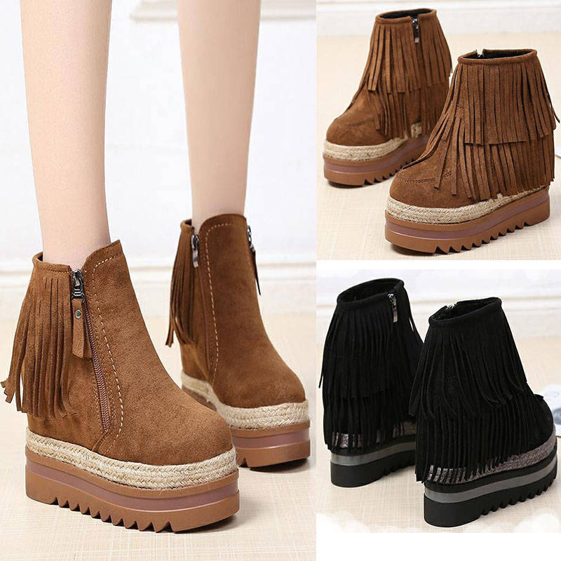 2018 Winter Wedge Fashion Women Shoes Woman Boots Platform Warm Snow Femme Ladies Boot Black EU 35-39 цены
