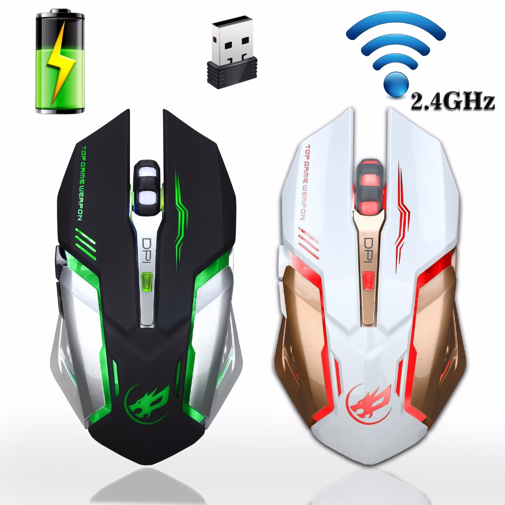 Punjiva 2.4GHz Wireless Gaming Mouse Backlight USB Optički Gamer Miševi za stolna računala Laptop Notebook PC