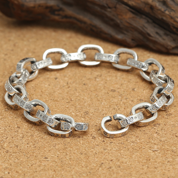 Wholesale Ornaments In S925 Sterling Thai Silver Male Paragraph Simple Side Ring Buckle Bracelet wholesale s925 sterling silver personalized jewelry retro thai silver male smooth side buckle bracelet