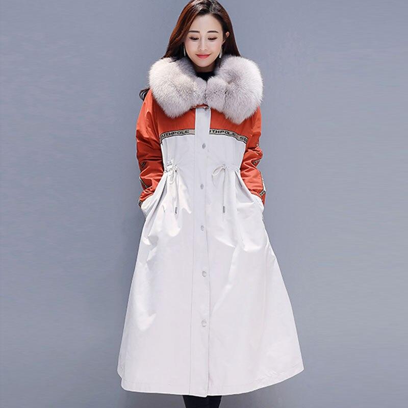 Femmes Velours Col Grand Manteau Royal Parka Épais Bas Plus Le Nouvelle Orange Coton Vers La Veste D'hiver De 2019 Mode bleu Taille Chaud 143 Fourrure wZx8t