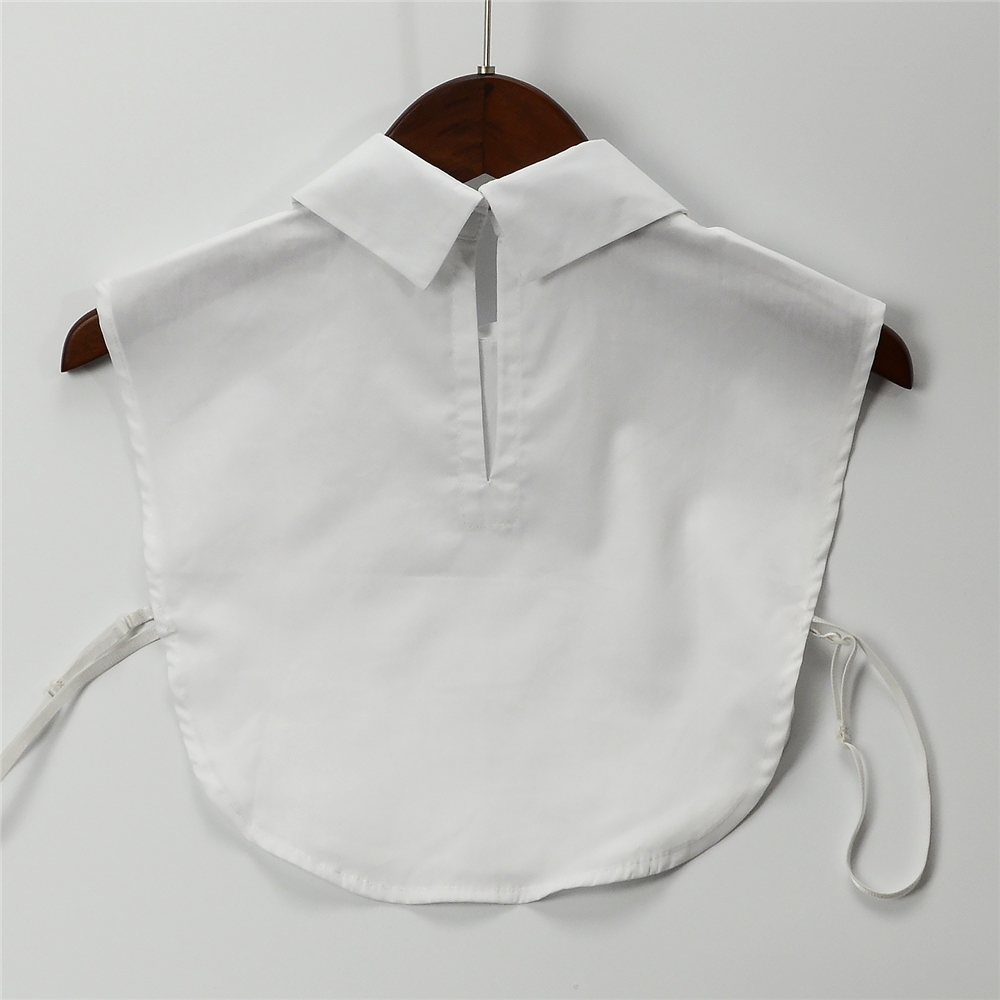 Women White Cotton Half Shirt Detachable Collars V Shaped Sewing