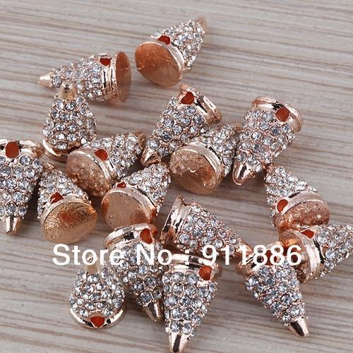 Wholesale 50pcs lot Rose Gold Spike Cystal Beads becdbd4787b6