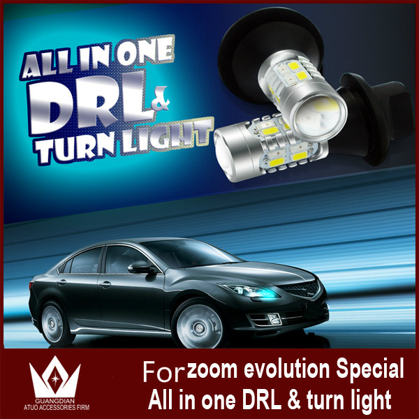 ФОТО Guang Dian CAR LED LiGHT DRL daytime running light& Front Turn Signals light For Mazda ZOOM ZOOM Evolution LED 7440 T20 WY21W