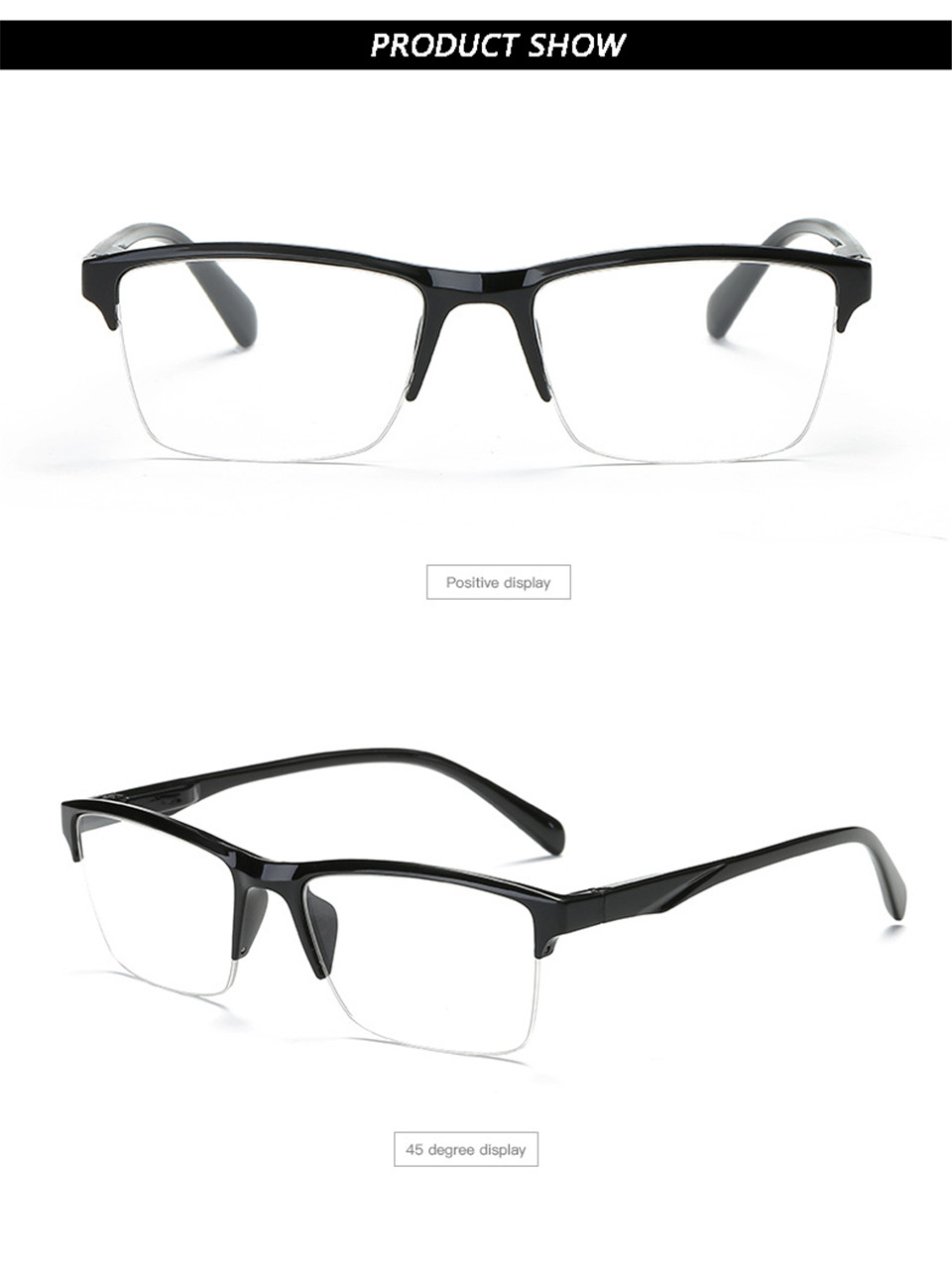 HTB1MxkAKSzqK1RjSZFjq6zlCFXaN - iboode Half Frame Reading Glasses Presbyopic Eyewear Male Female Far sight Glasses Ultra Light Black with strength +75 to +400