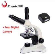 Феникс цифровой микроскоп PH50-3A43L-A 5mp CMOS камера 40X-1600X биологический Студенческий микроскоп