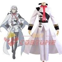 Seraph della Fine Vampiri Ferid Bathory Uniforme Bianco Cappotto Del Capo Pant Anime Halloween Carnevale Cosplay Costume Set Completo