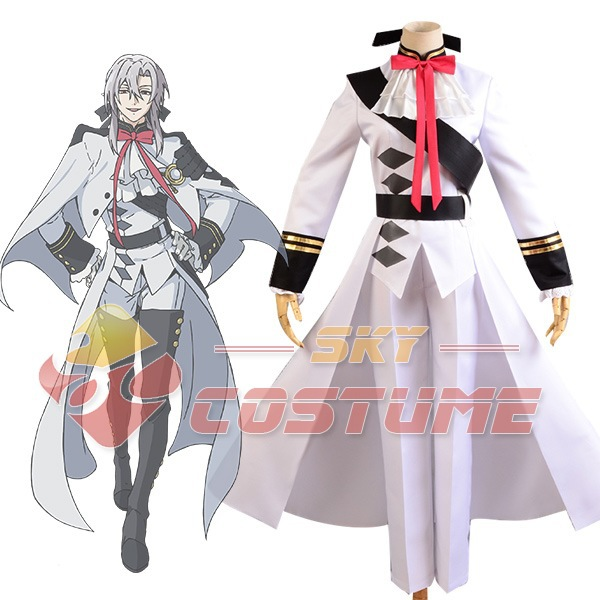 Seraph of the End Vampires Ferid Bathory Uniform White Coat Cape Pant Anime Halloween Carnival Cosplay Costume Full Set