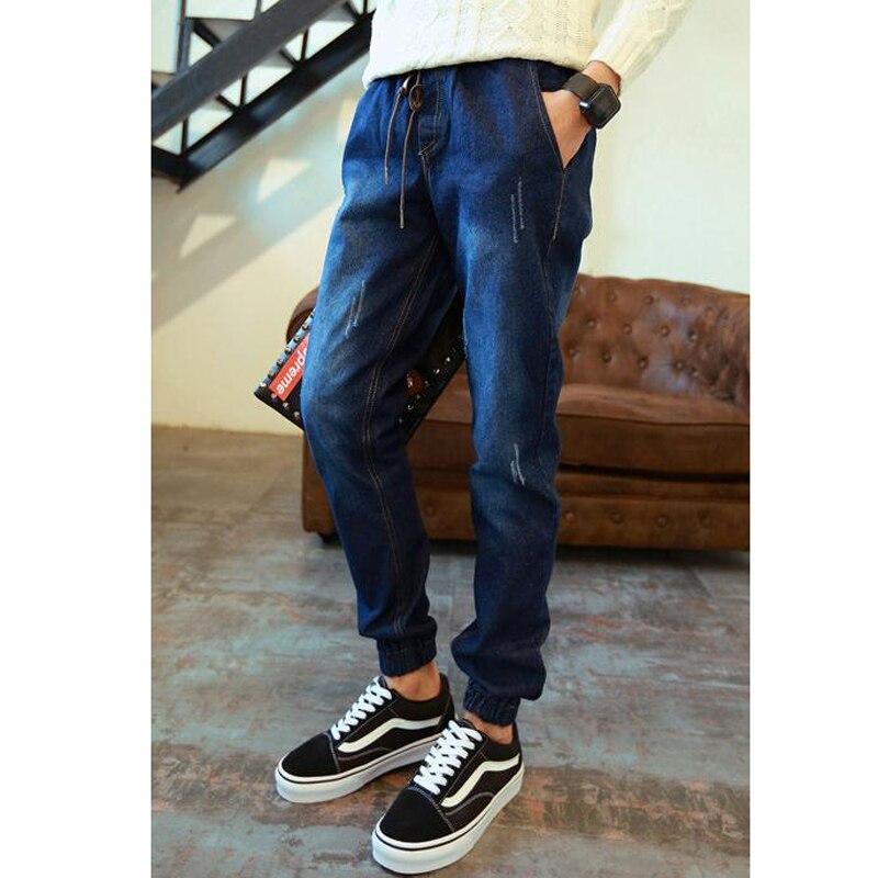 SıCAK Stil erkek Elastik Bel Kot Gençler Denim Manşetli Bacak - Erkek Giyim - Fotoğraf 2