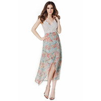 a2f42e4434 2017 Summer Dress Vestido Casual Boho V Neck Sexy Print Lace Long Dress  Backless Party Women