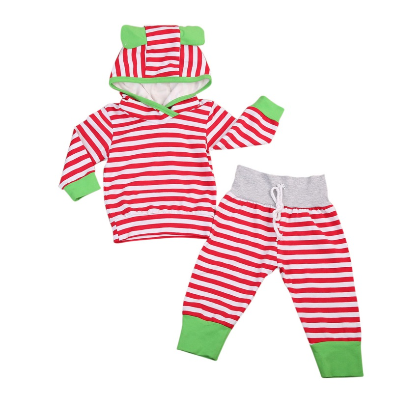 Cute Newborn Baby Girls Boys 2 Pcs/sets Autumn Warm Hooded Clothing Outfit + Pants Clothes Sets 0-3Y