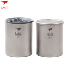 Keith Pure Titanium Double Wall Water Mugs Lid Drinkware Outdoor Camping Coffee Beer Cup Ultralight Travel Mug