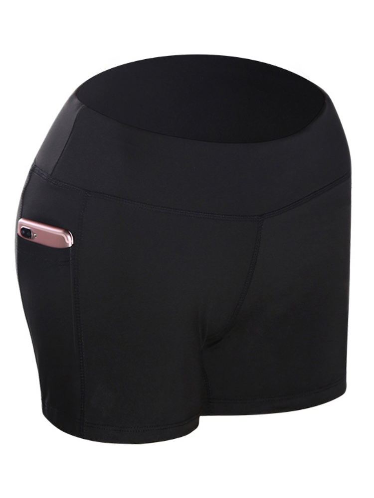 2020 Women Solid High Waist Elastic Pocket Stitching Hip Bottoming Shorts Solid Color Running Fitness Empire Shorts S/M/L/XL!