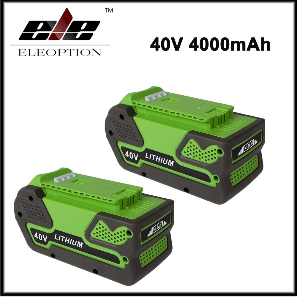 Eleoption High Capacity 40V 4000mAh Replacement Lithium Ion Battery for GreenWorks Gen1 29692  29282 29302 Tools free customs taxes high quality skyy 48 volt li ion battery pack with charger and bms for 48v 15ah lithium battery pack