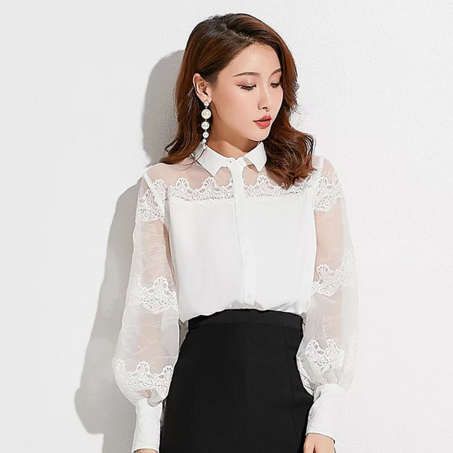 6637b2b8b68 B003 elegant sheer puffy sleeve organza long sleeve women blouse-in ...