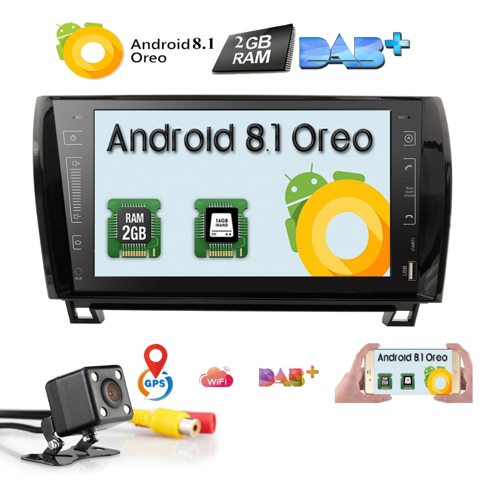 2 Din Android 8.1 Car Stereo Radio For Toyota Sequoia Tundra 9 GPS Navigation WiFi 4G Bluetooth TV TPMS No DVD Player