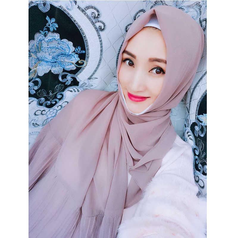 Wanita Islam Maxi Crinkle Cloud Jilbab Syal Selendang Muslim Panjang Selendang Bungkus 2019 Chiffon Polos Syal Abaya Sorban Jilbab