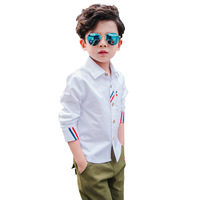 2018 New Boys Coton Shirt Kids High Quality Brand Casual Boys White Shirts Kids Full Sleeve