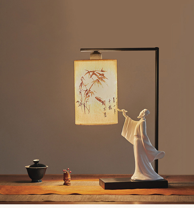 Poet People Write Calligraphy Lamp Bedside Table Lamp Chinese Style Bedroom Table Lamps For Living Room Novelty Desk Lamps table lamps europe style with e27 holder for bedroom living room bedside table lamps desk lamp luminarias decorative lamp shade