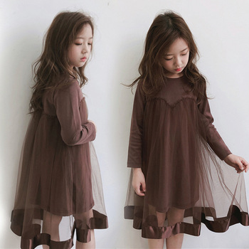 70471b8b59 Las niñas adolescentes tul vestidos 2019 patchwork otoño niña Vestido de  manga larga vestido de los niños para 10 años 14 12 6 8 4 niños ropa