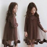 teen girls tulles dresses 2018 patchwork autumn girl dress long sleeve children dress for 10 years 14 12 6 8 4 kids clothes