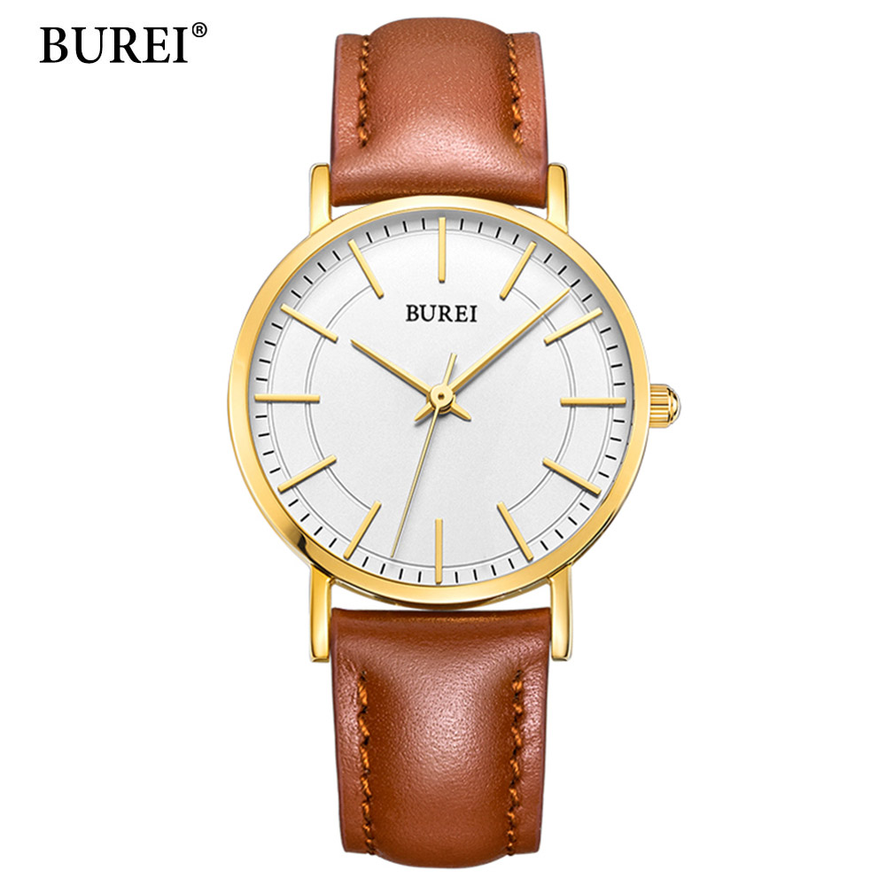 BUREI Luxury Designer Brand Quartz Watch Women Leather Casual Ladies Simple Wrist watch Girl Clock Female Creative Gift relogio burei new creative design watch mineral stylish quartz women watch casual fashion ladies gift wrist watch vintage timepieces