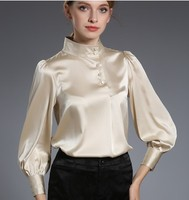 2018 new mulberry silkworm silk collared lantern sleeve pure champagne white silk blouses blouse